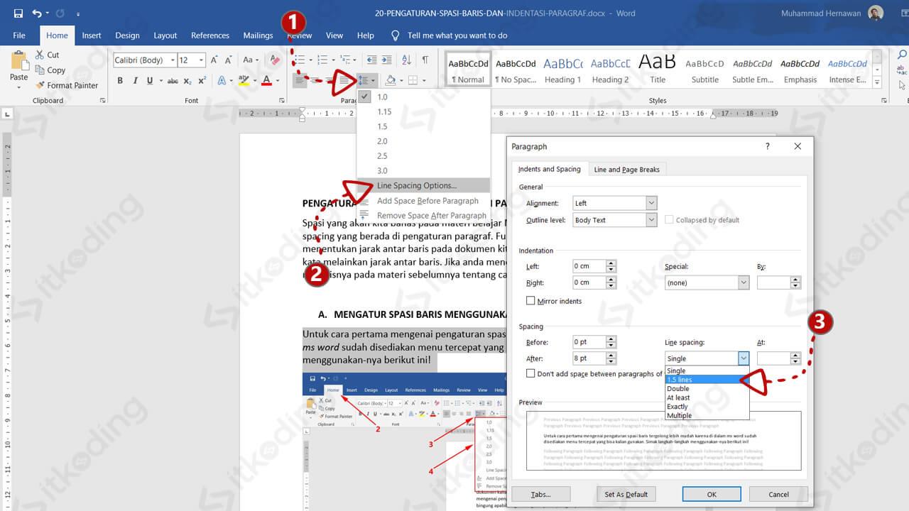 Dialog box paragraf untuk mengatur spasi di word
