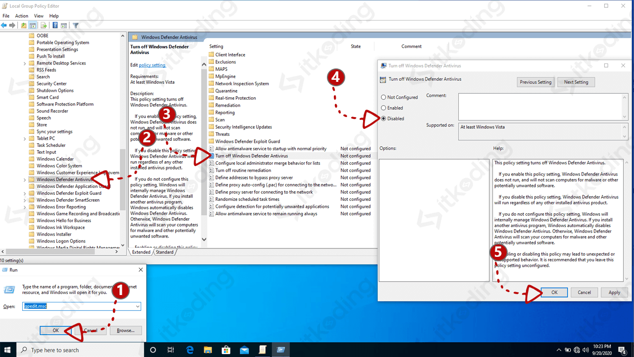Konfigurasi windows defender di gpedit