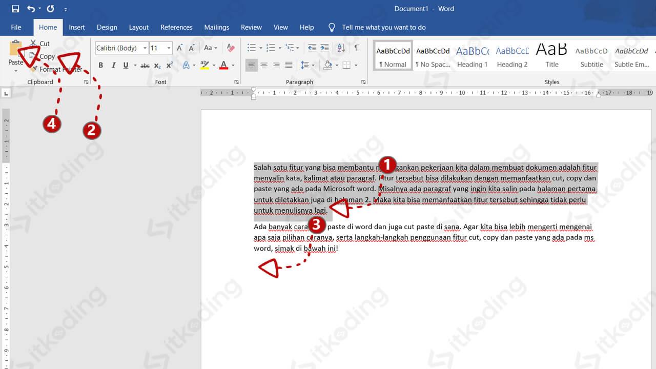 Langkah copy paste di ms word