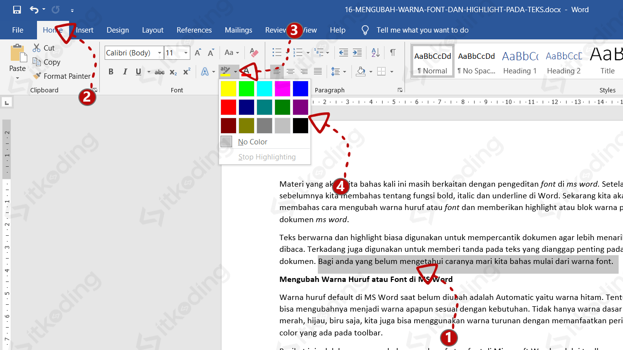 Menu highlight font pada ms word