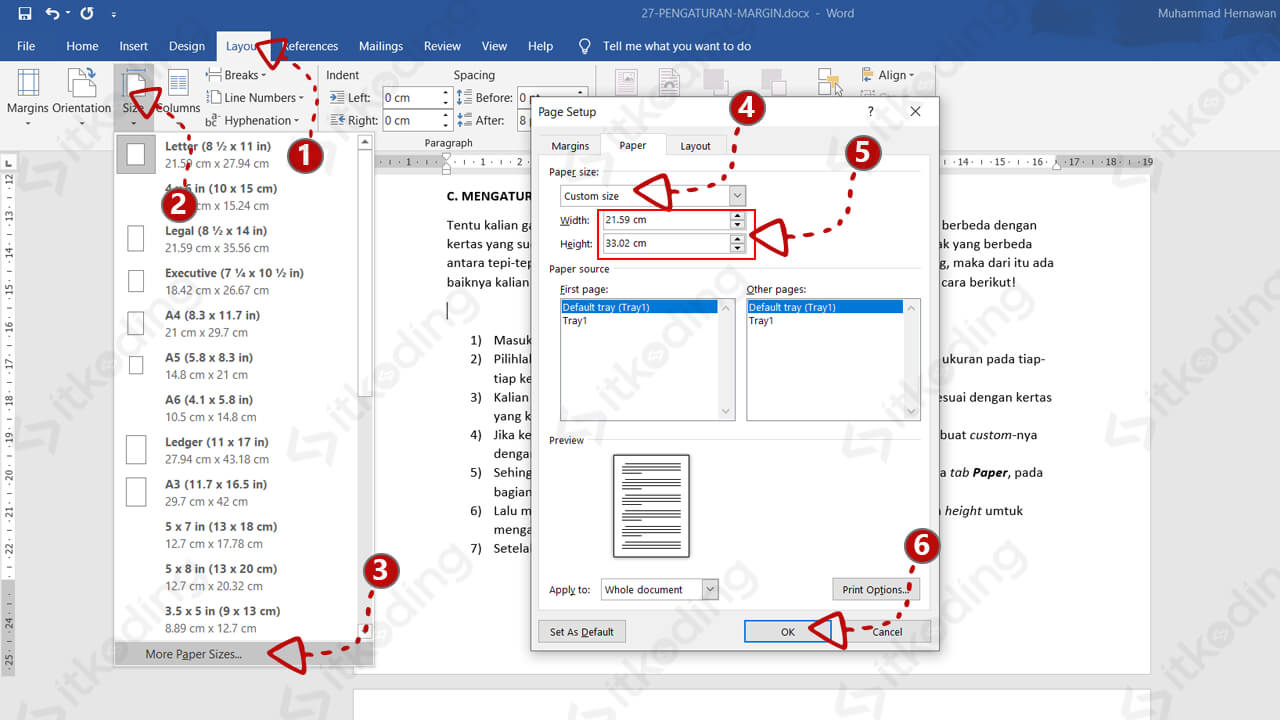 Opsi custom size kertas pada page setup di word