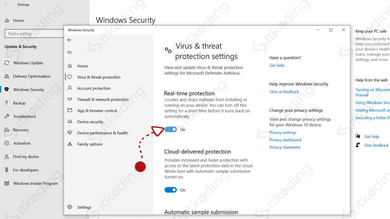 Opsi real-time protection di windows 10