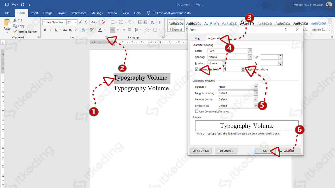 Pengaturan kerning font di ms word