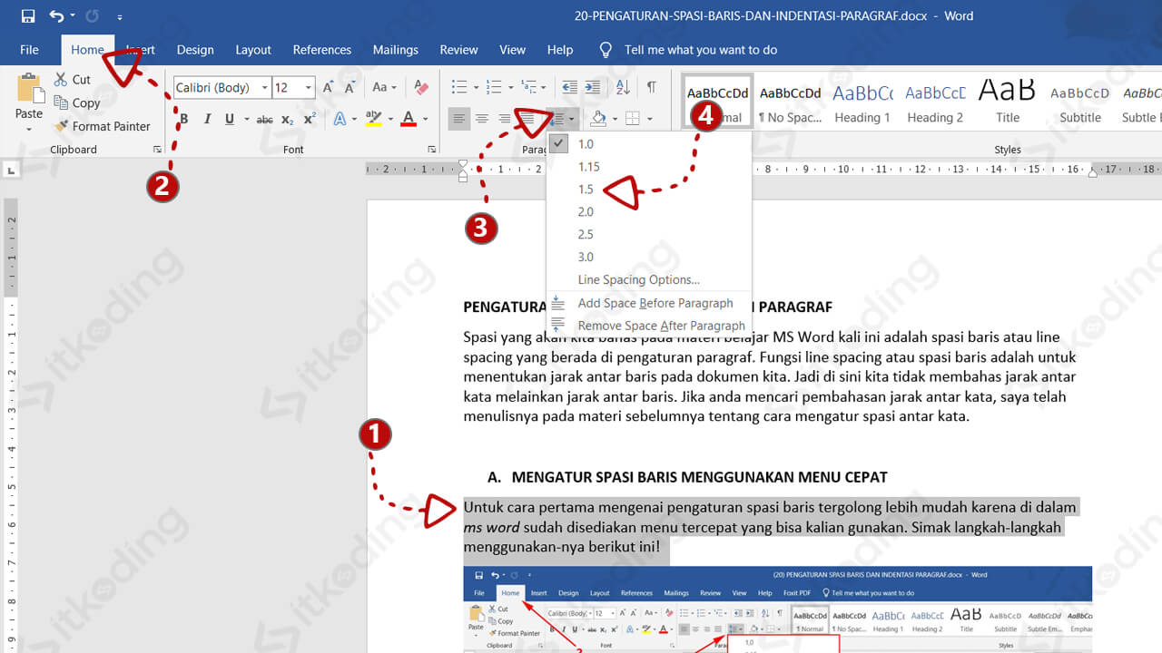Pengaturan spasi secara cepat di toolbar ms word