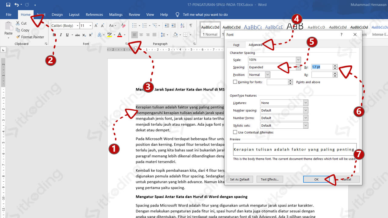 Pilihan menu spacing di ms word