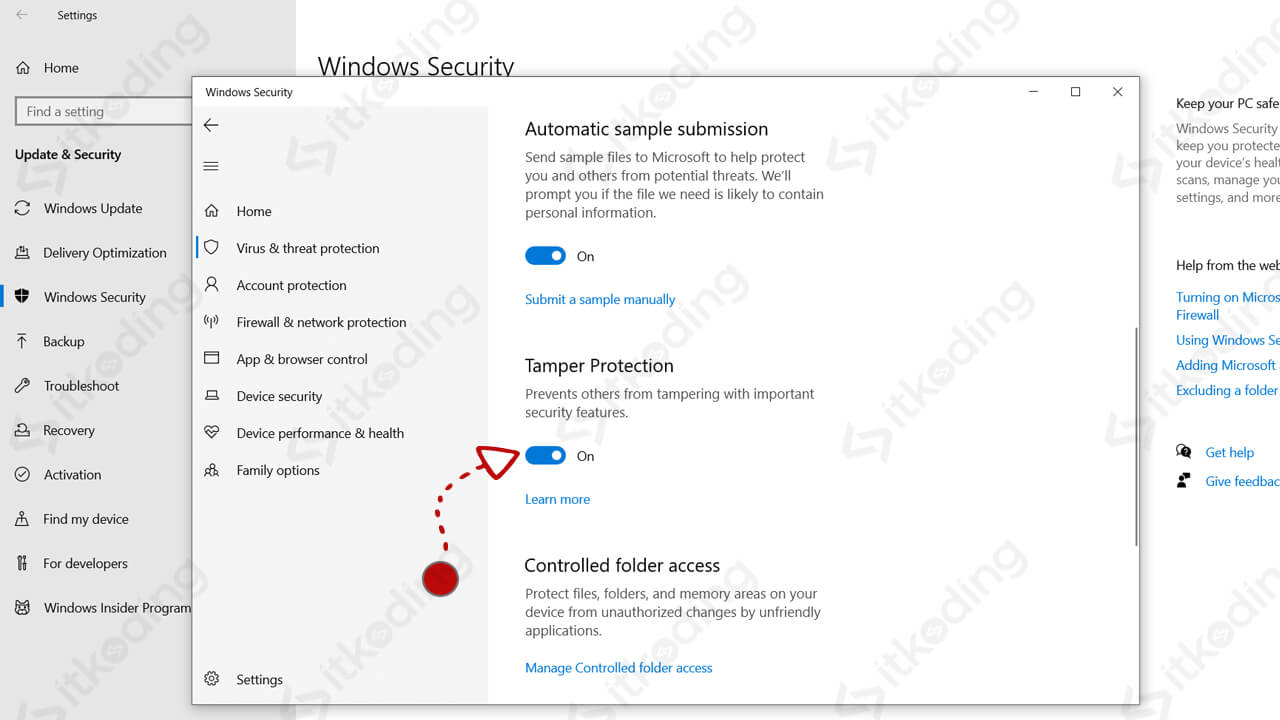 Pilihan tamper protection di pengaturan windows 10