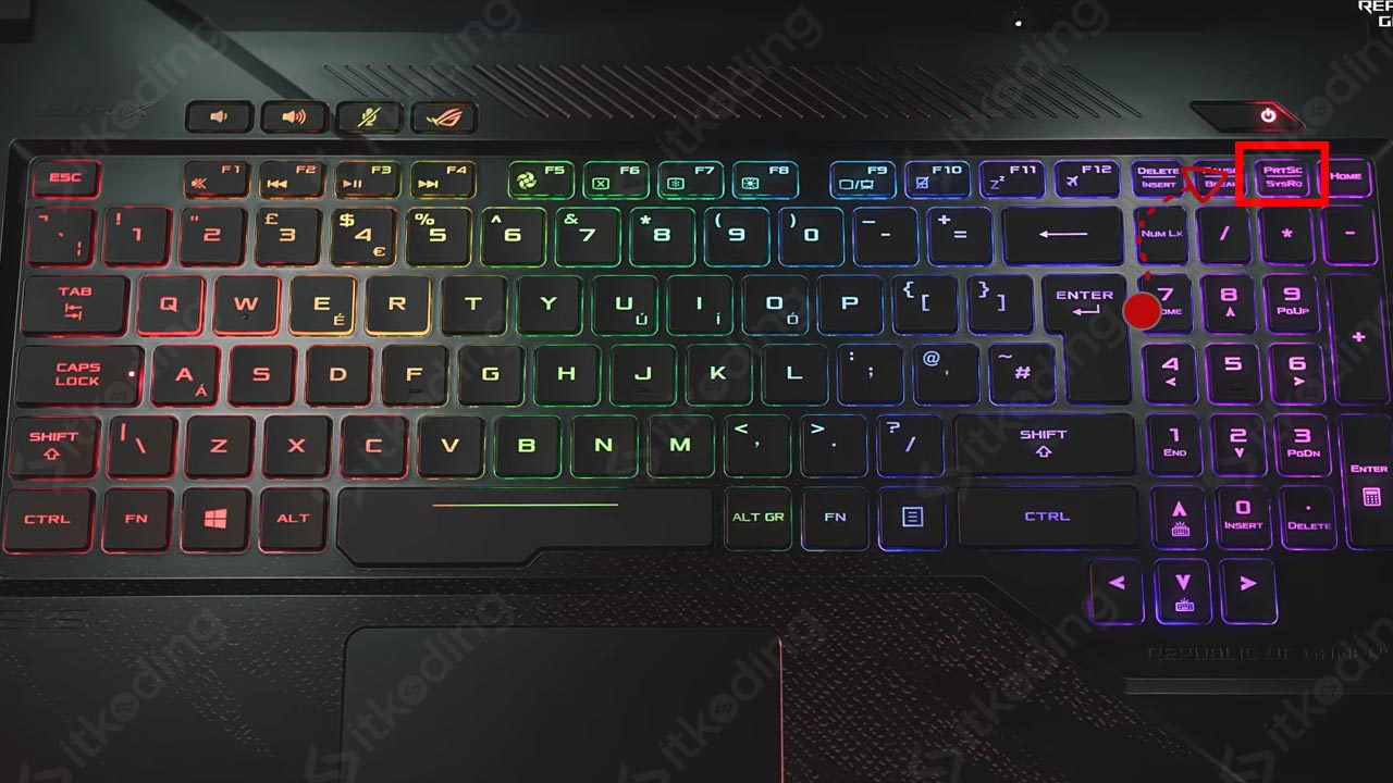 Tampilan keyboard laptop asus rog