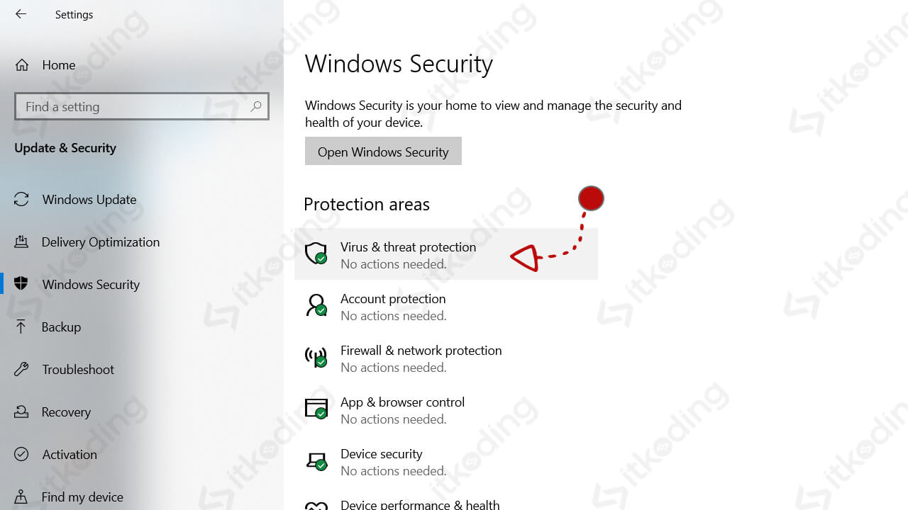 Tampilan windows defender yang sudah aktif