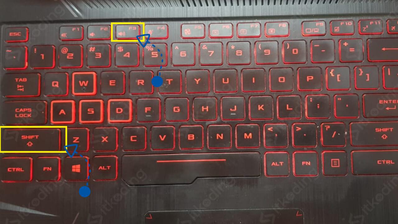 Tombol shift dan f3 di keyboard laptop