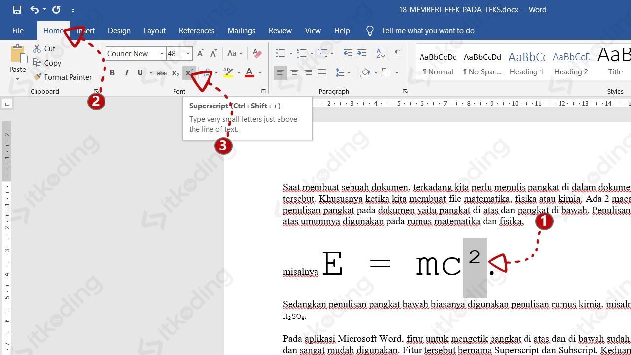Tombol superscript di ms word