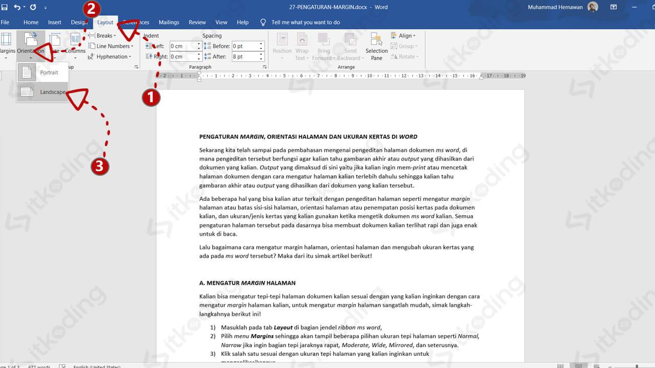 Toolbar orientasi halaman di ms word