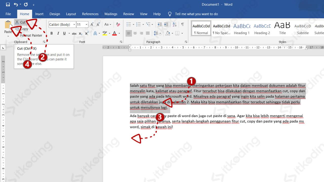 Urutan langkah cut paste di word