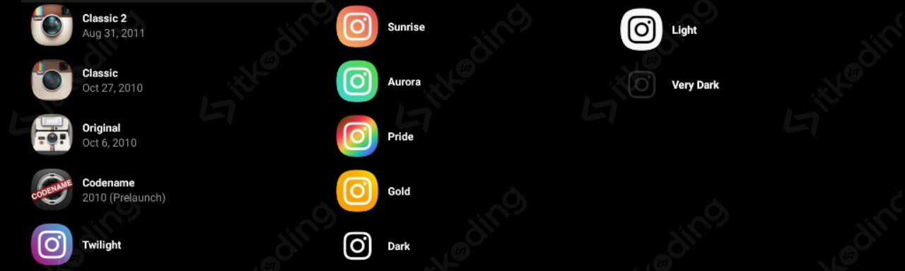 Icon-icon instagram di menu pengaturan