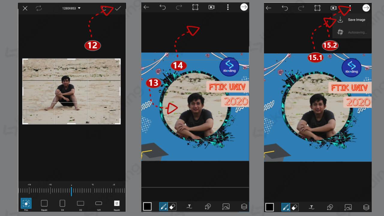 Langkah memasukkan foto ke twibbon di picsart