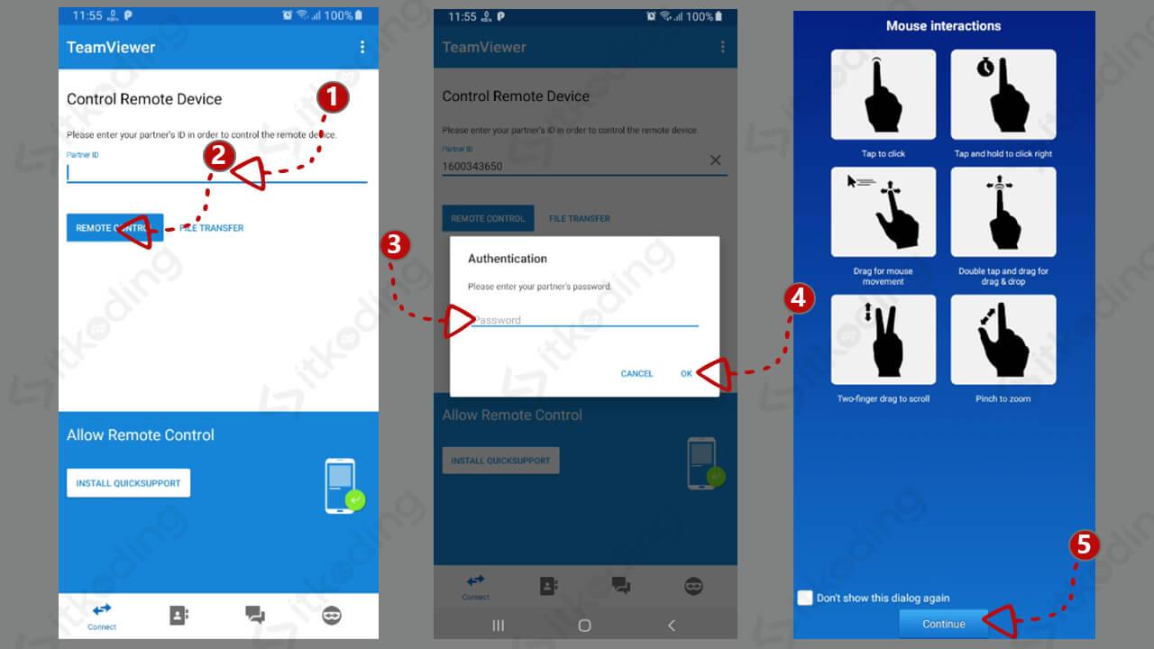Langkah untuk connect teamviewer di android