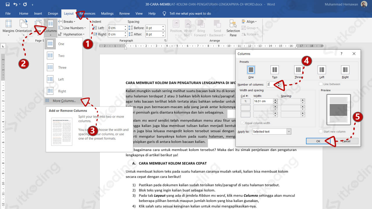 Menu column di ms word