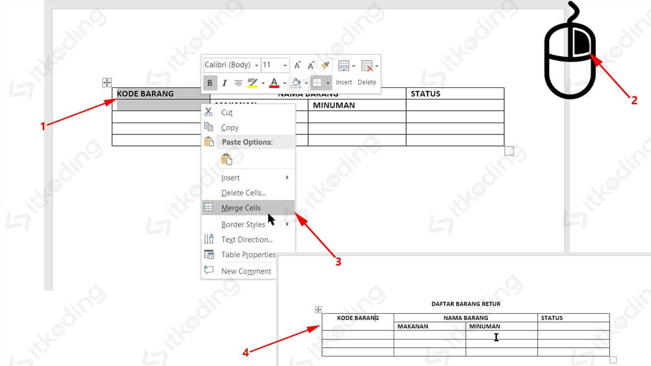 Menu klik kanan merge cells di ms word