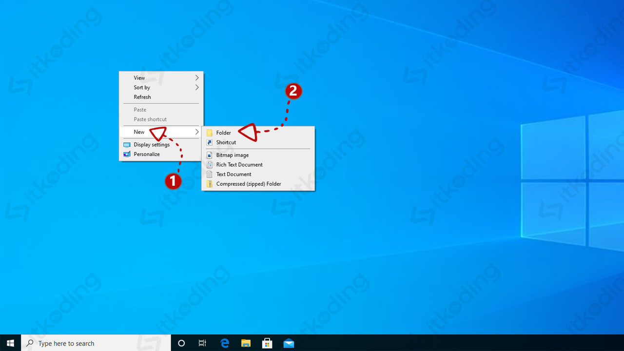 Opsi pada klik kanan di desktop windows
