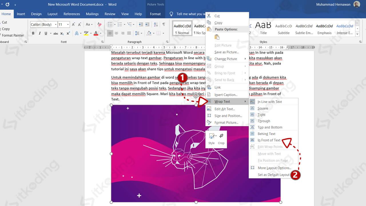 Opsi wrap text pada gambar di ms word