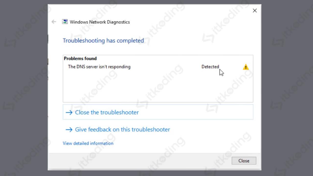 Tampilan error dns server not responding