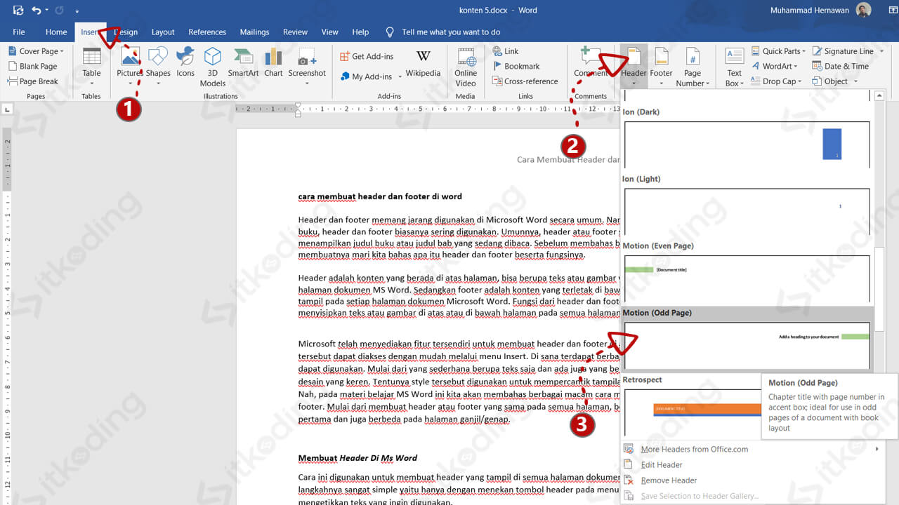 Tombol header di ms word