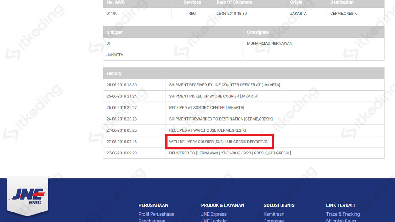 Contoh status with delivery courier jne