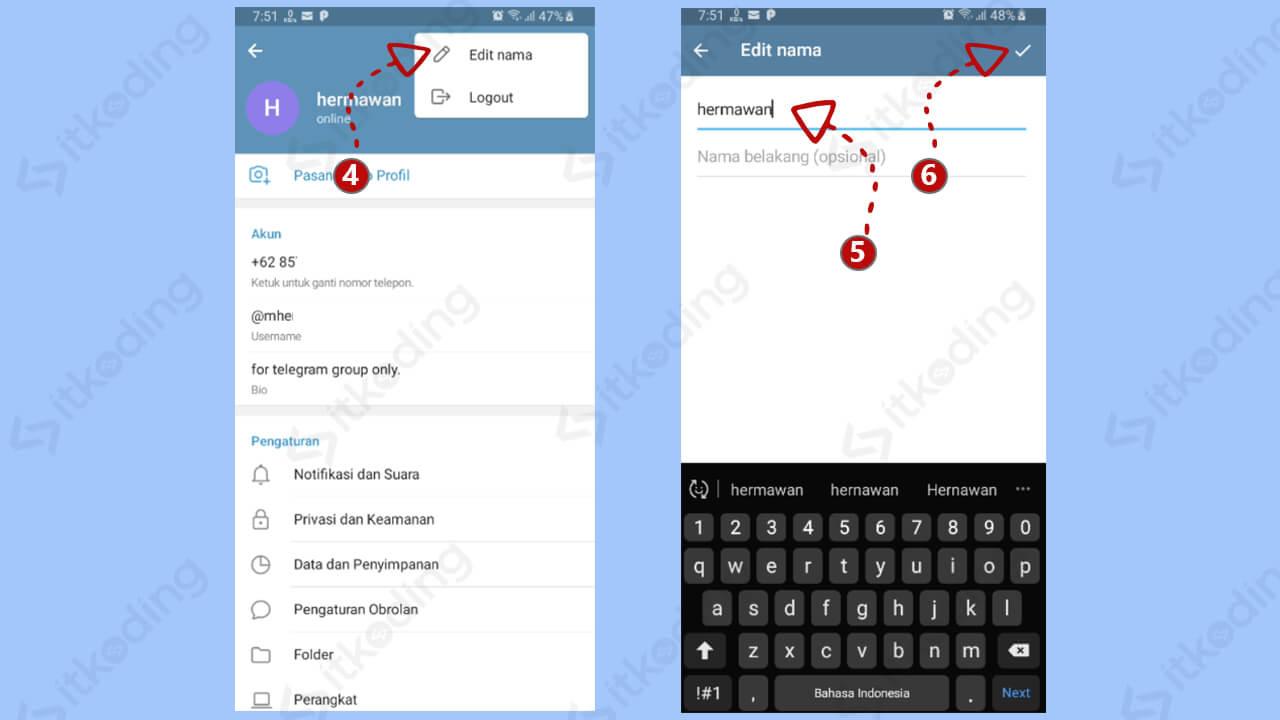 Halaman ganti nama di telegram