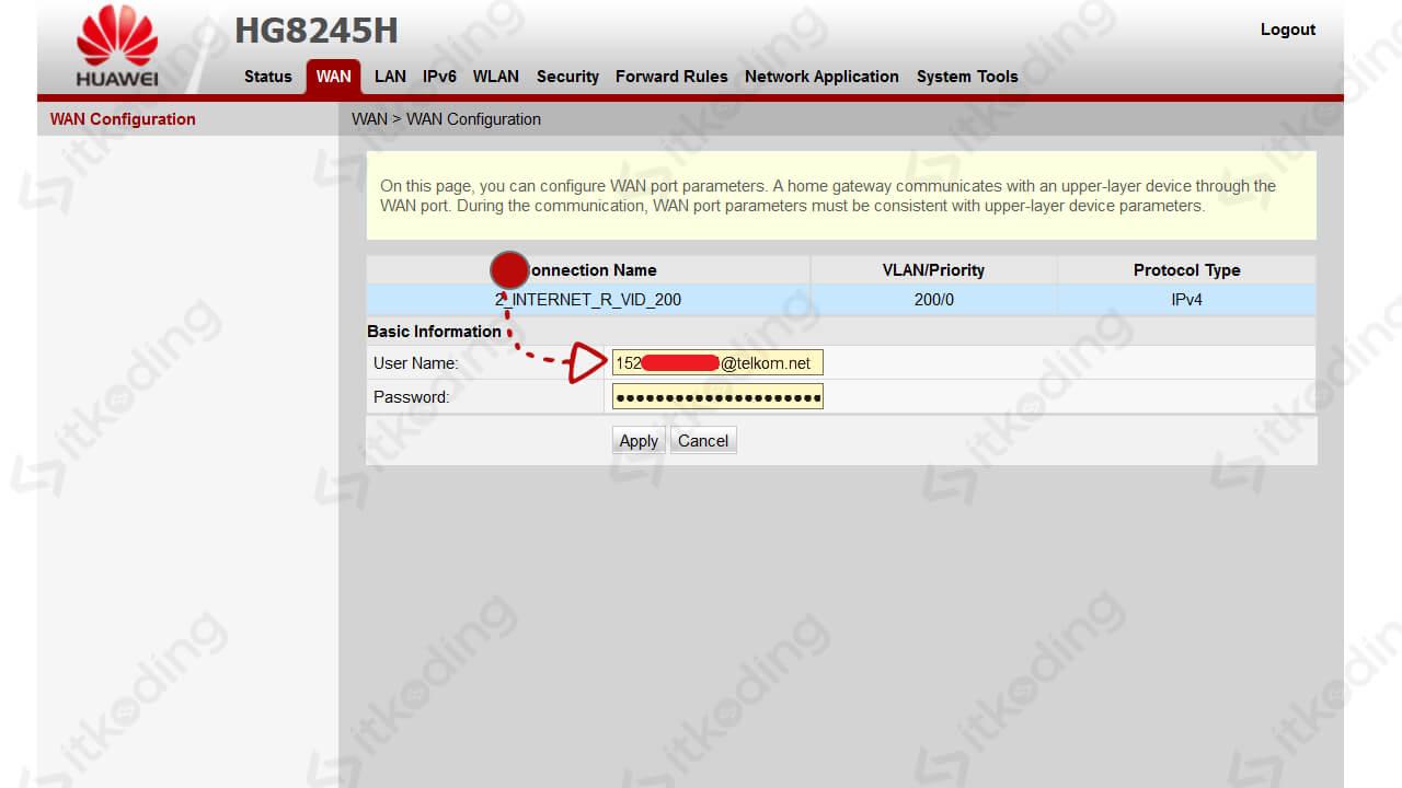 Nomor indihome di halaman administrator modem huawei