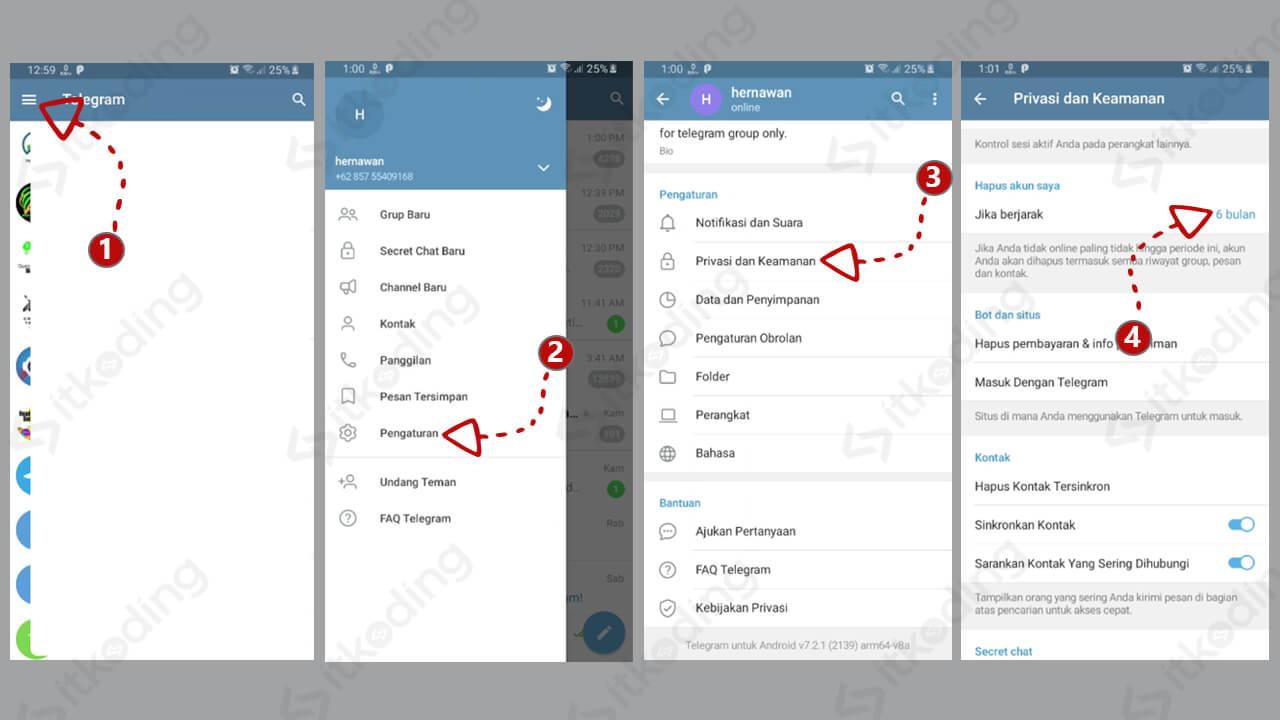 Opsi hapus akun di aplikasi telegram