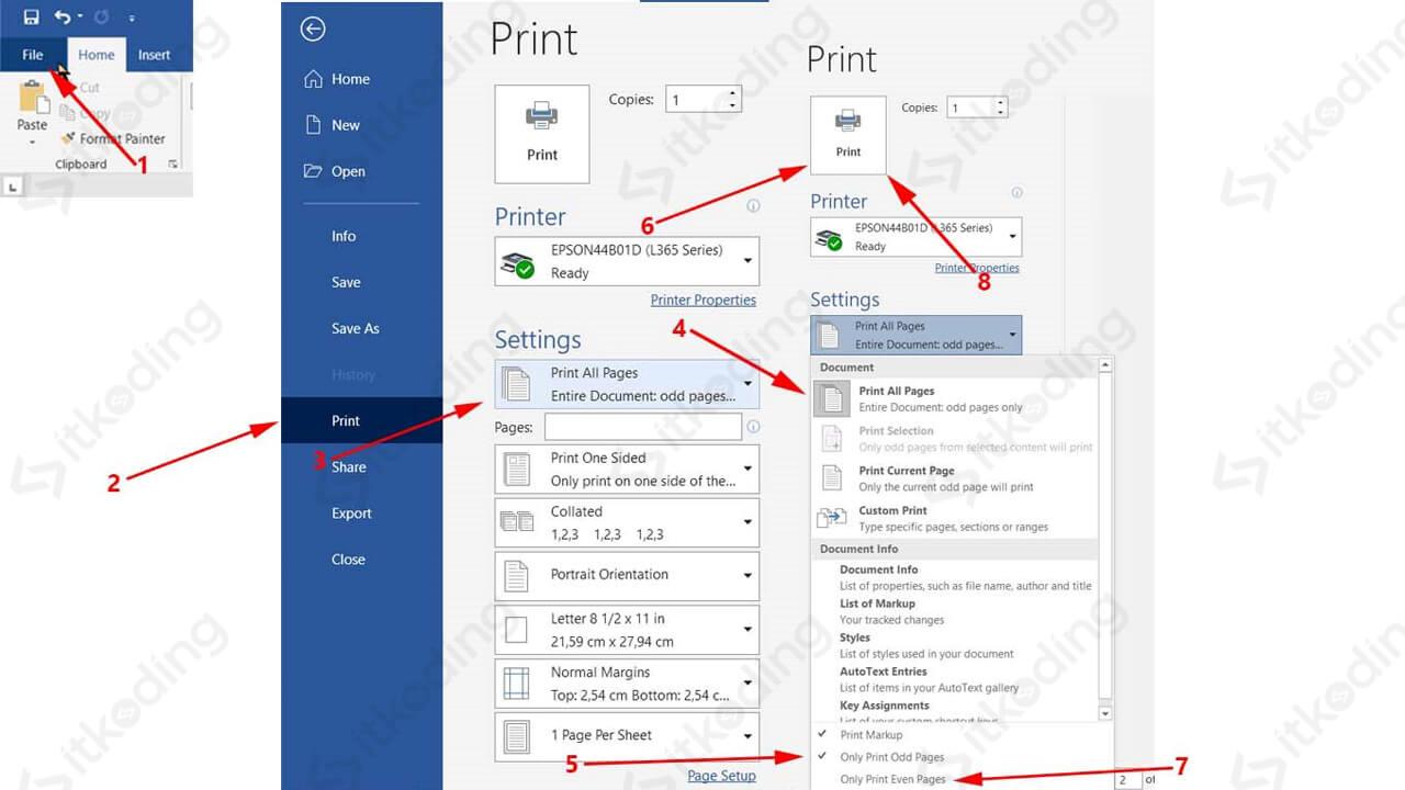 Opsi print odd dan even pages di word