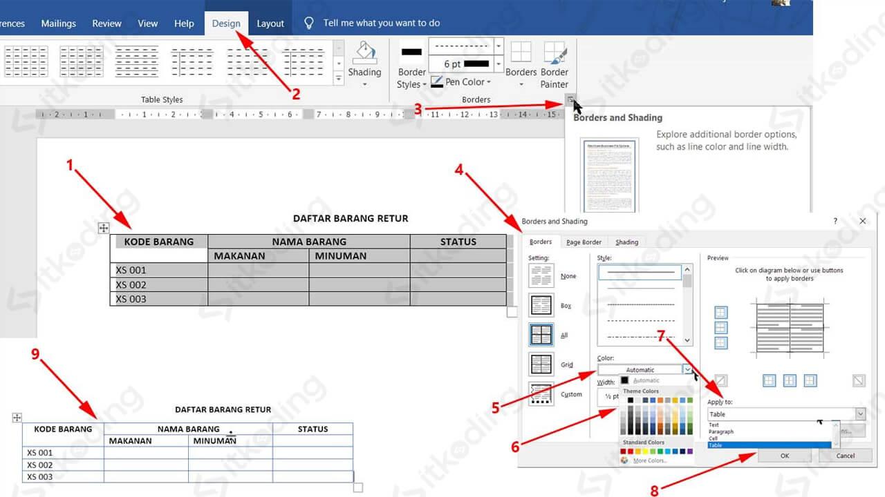 Pengaturan warna border tabel di word
