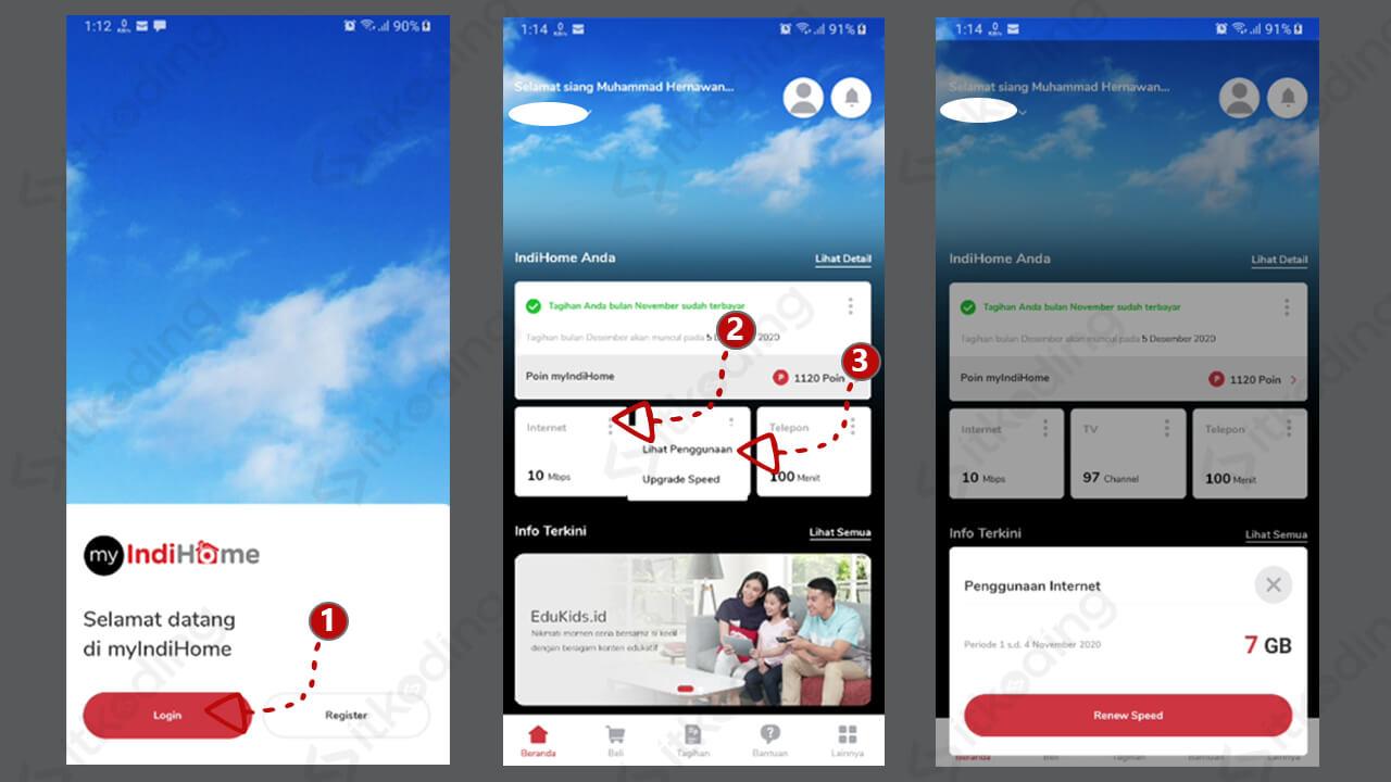 Tampilan aplikasi myindihome di android