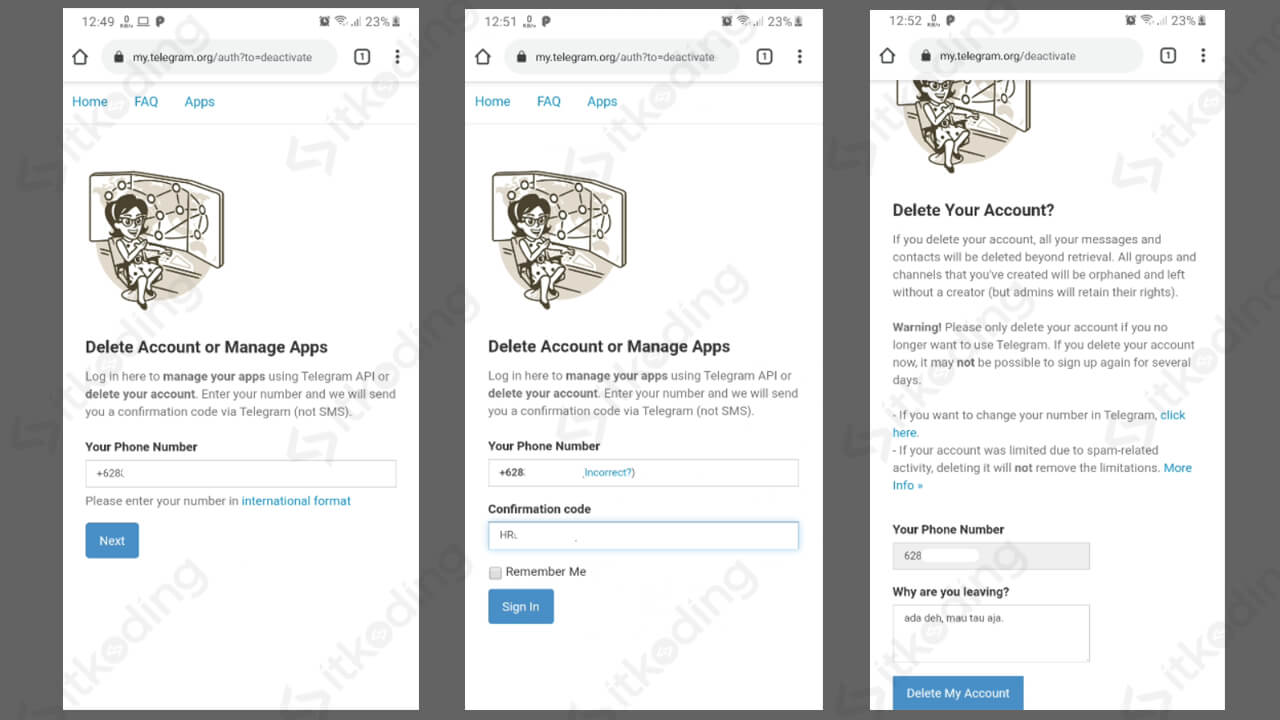 Tampilan halaman web untuk hapus akun telegram