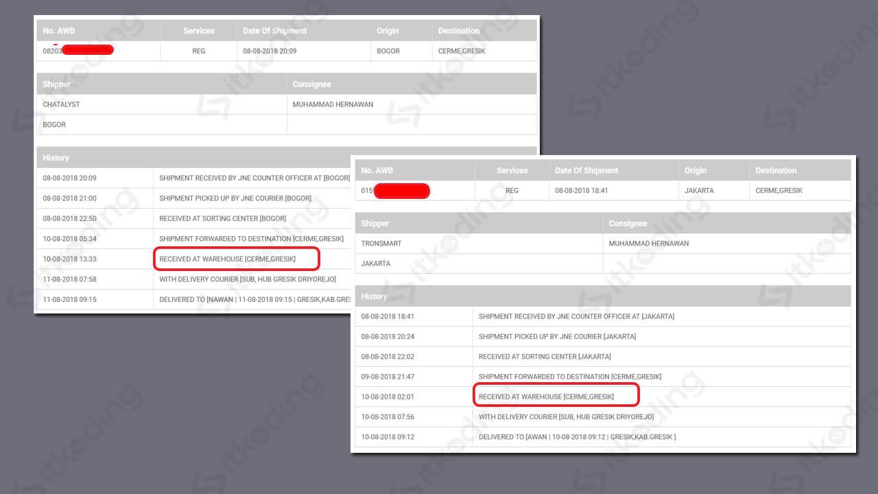 Tampilan status received at warehouse jne