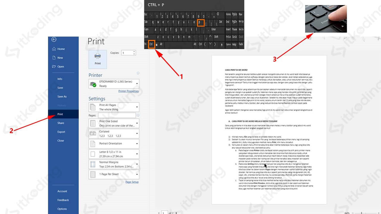 Tombol cepat keyboard untuk print di word