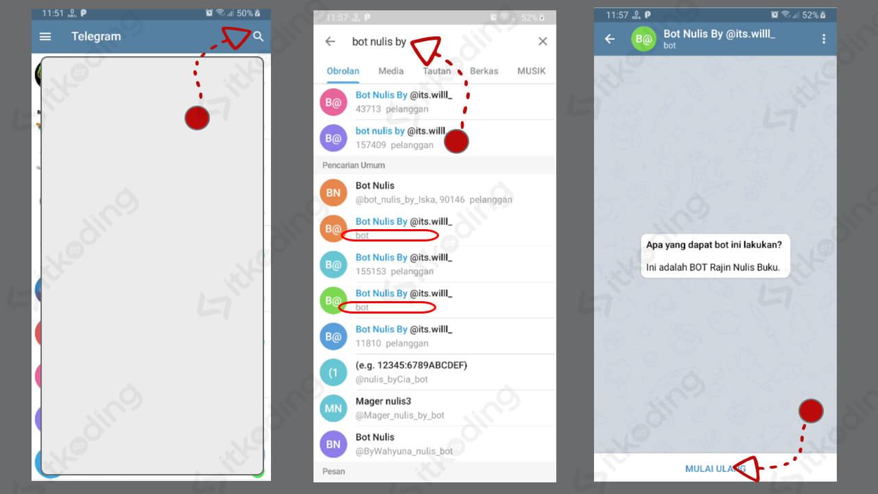 Tombol pencarian bot nulis di telegram