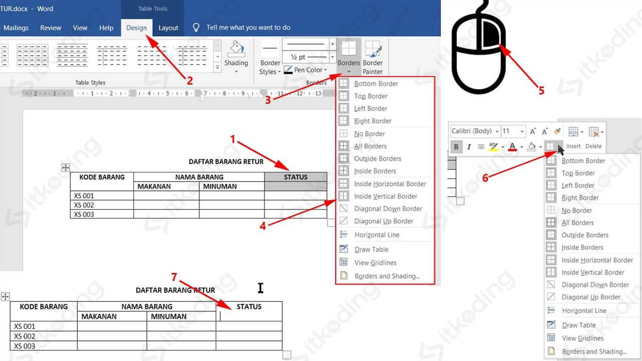 Toolbar borders table pada ms word