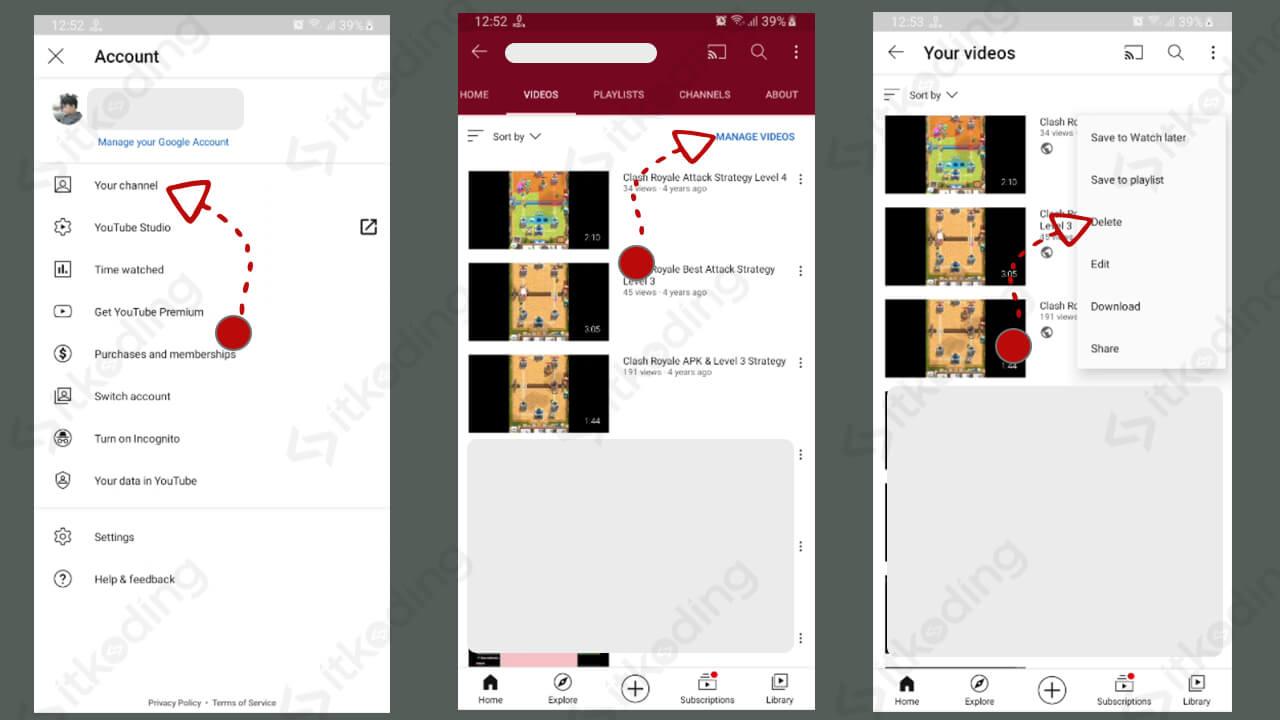 Fitur kelola video pada aplikasi youtube di hp