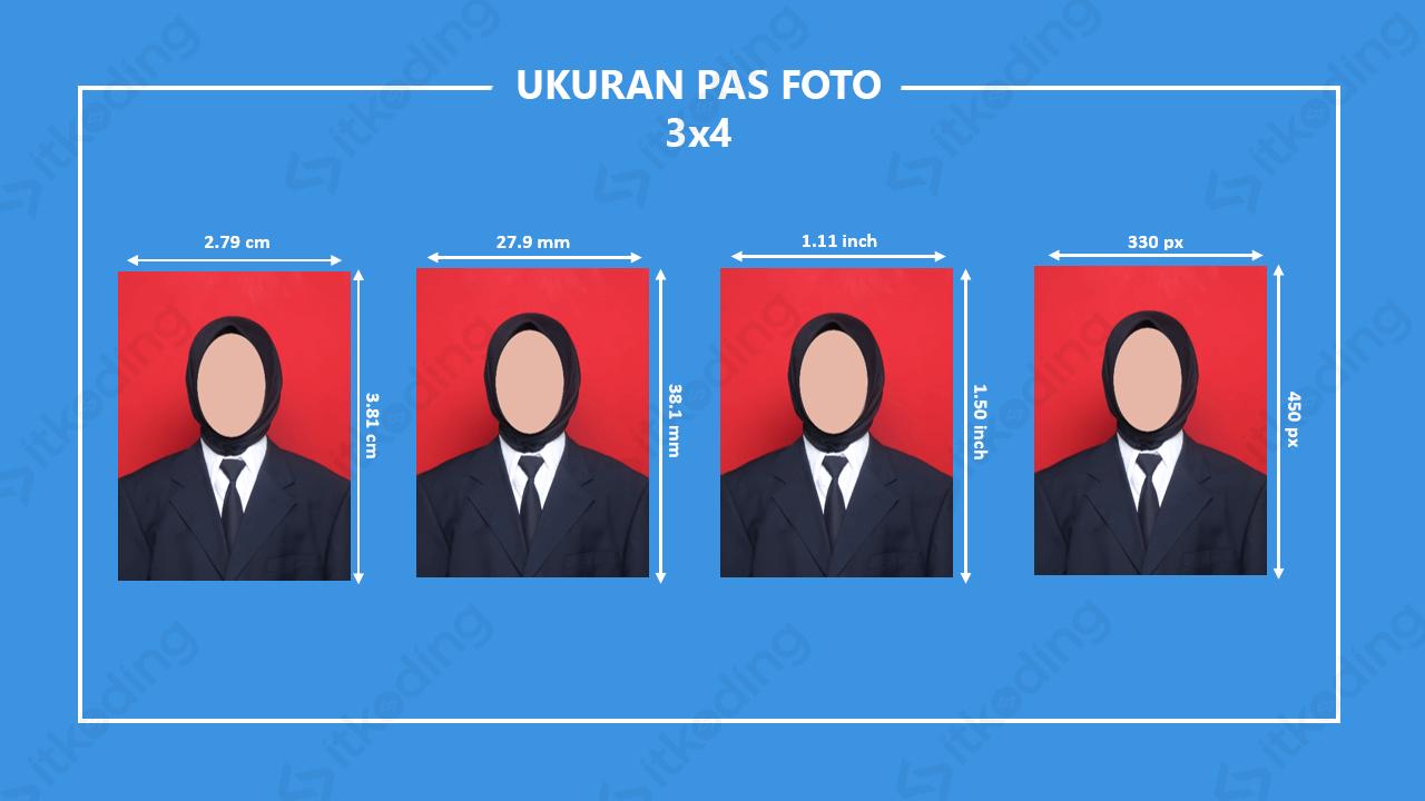 Ilustrasi ukuran pas foto 3x4 dalam cm, mm dan pixel