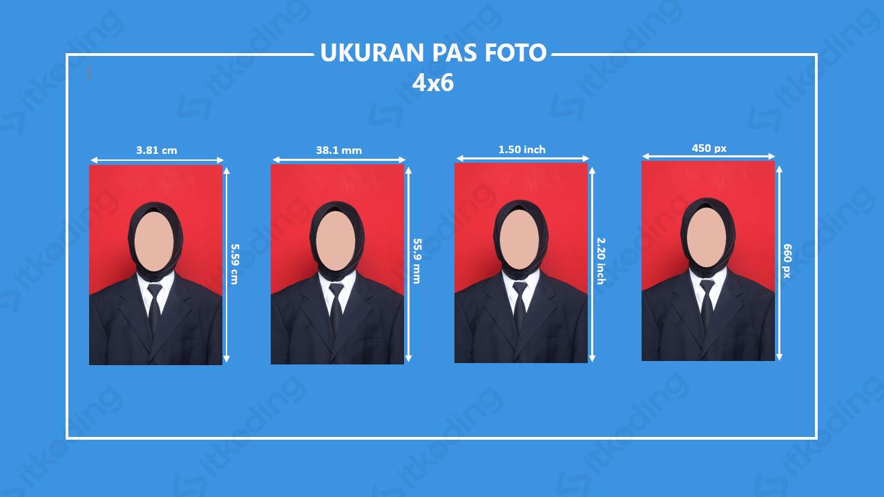 Infografik ukuran foto pas foto 4x6
