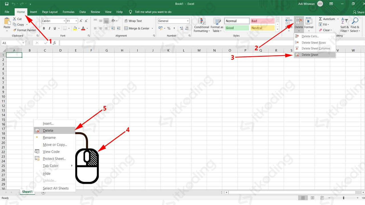 Menu delete sheet di klik kanan dan toolbar