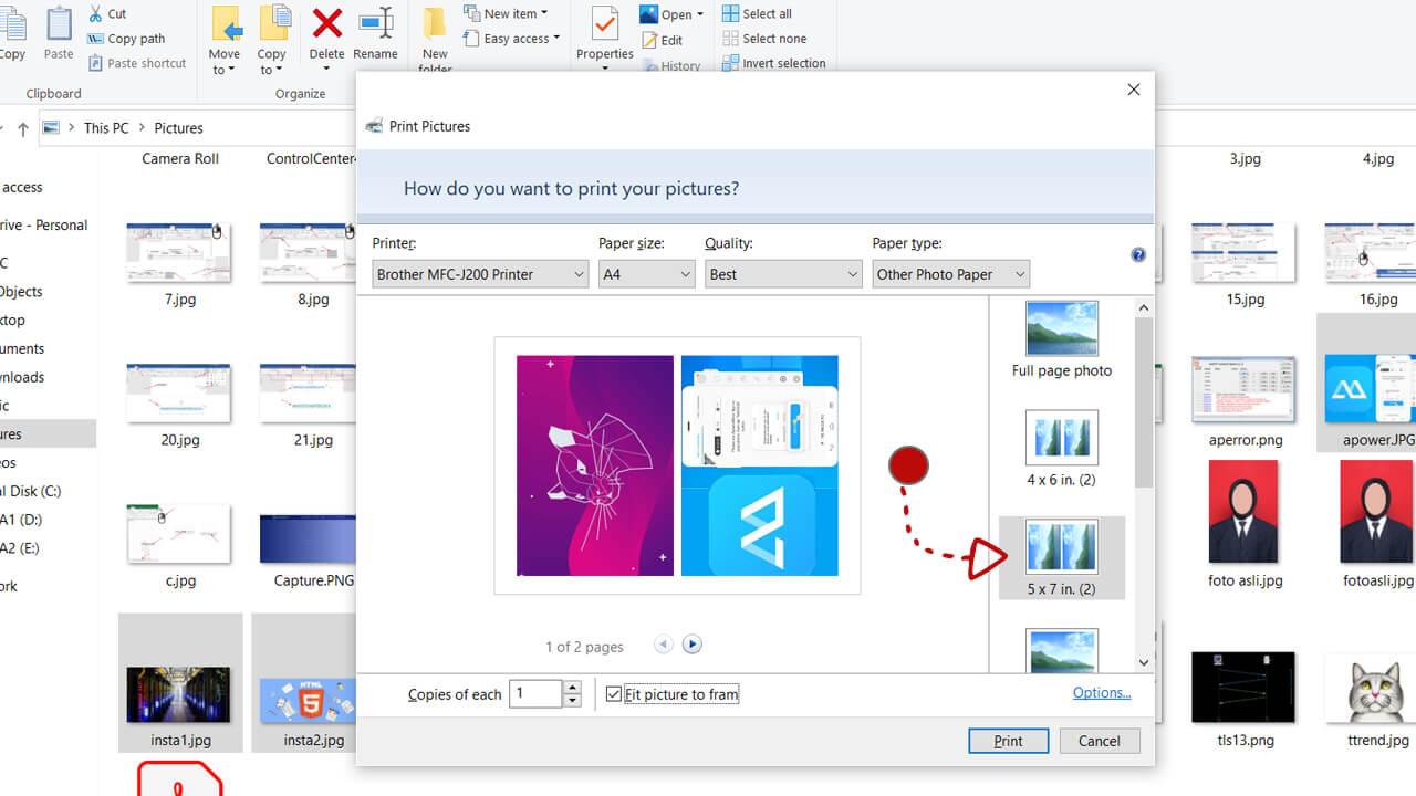 Opsi pada menu print gambar di windows explorer