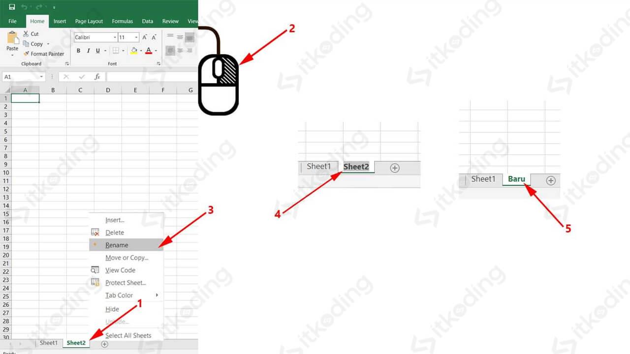 Opsi rename pada klik kanan sheet di ms excel