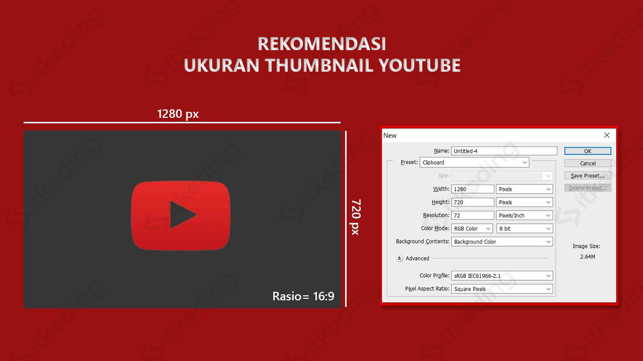 Rekomendasi ukuran thumbnail youtube dalam pixel