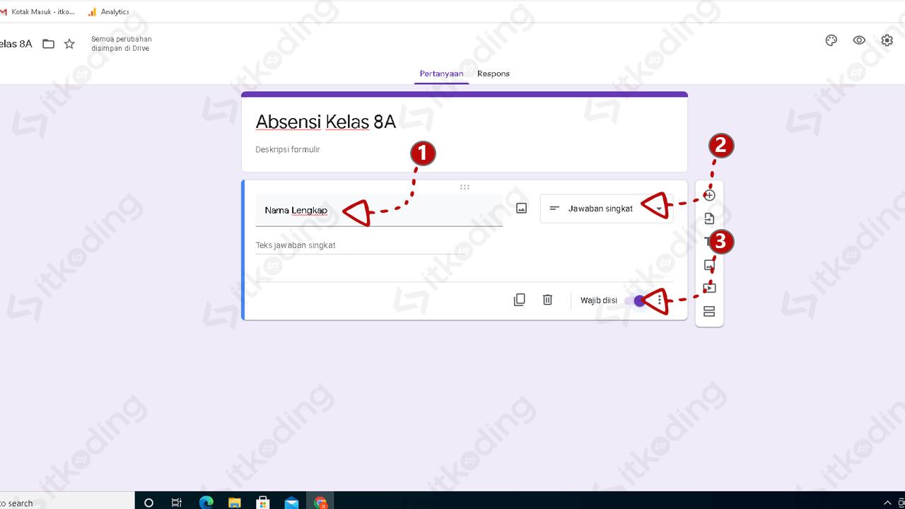 Kolom nama lengkap untuk absen pada google form