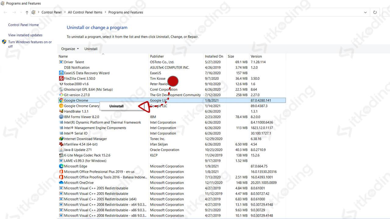 Menu programs and features di windows 10