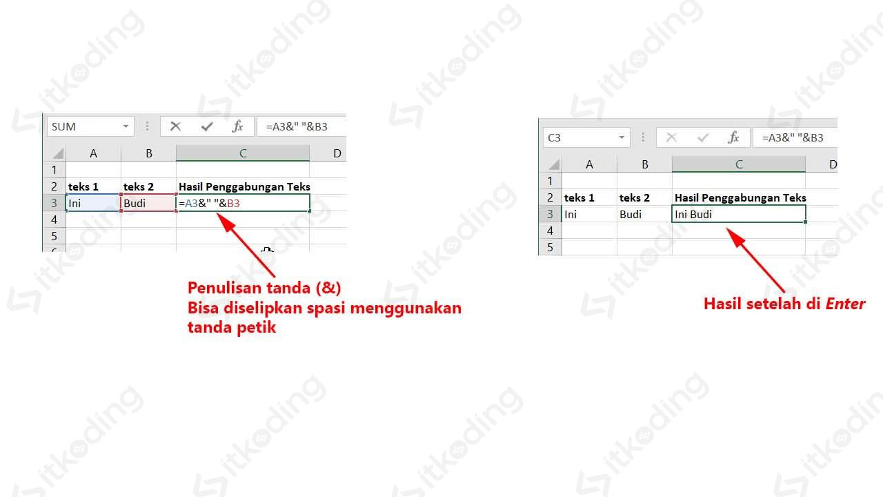 Penulisan operator penggabungan teks