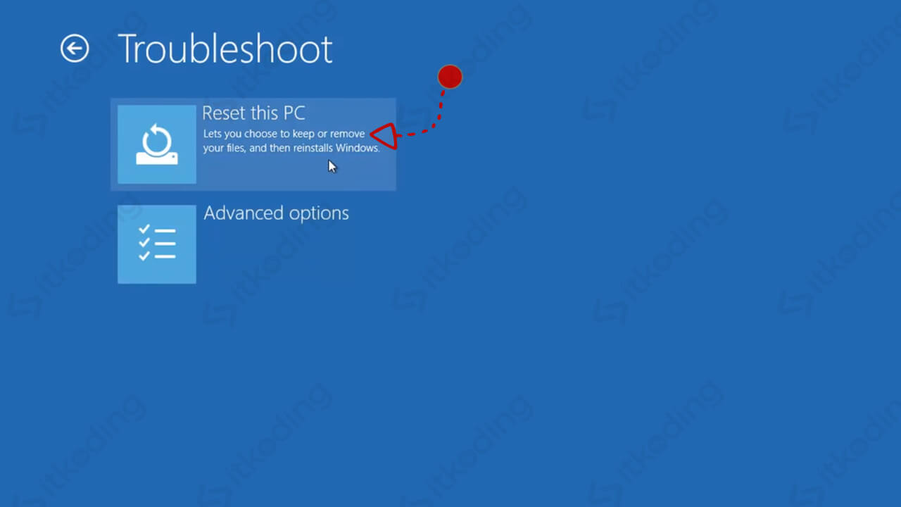 Pilihan reset pc saat booting windows 10