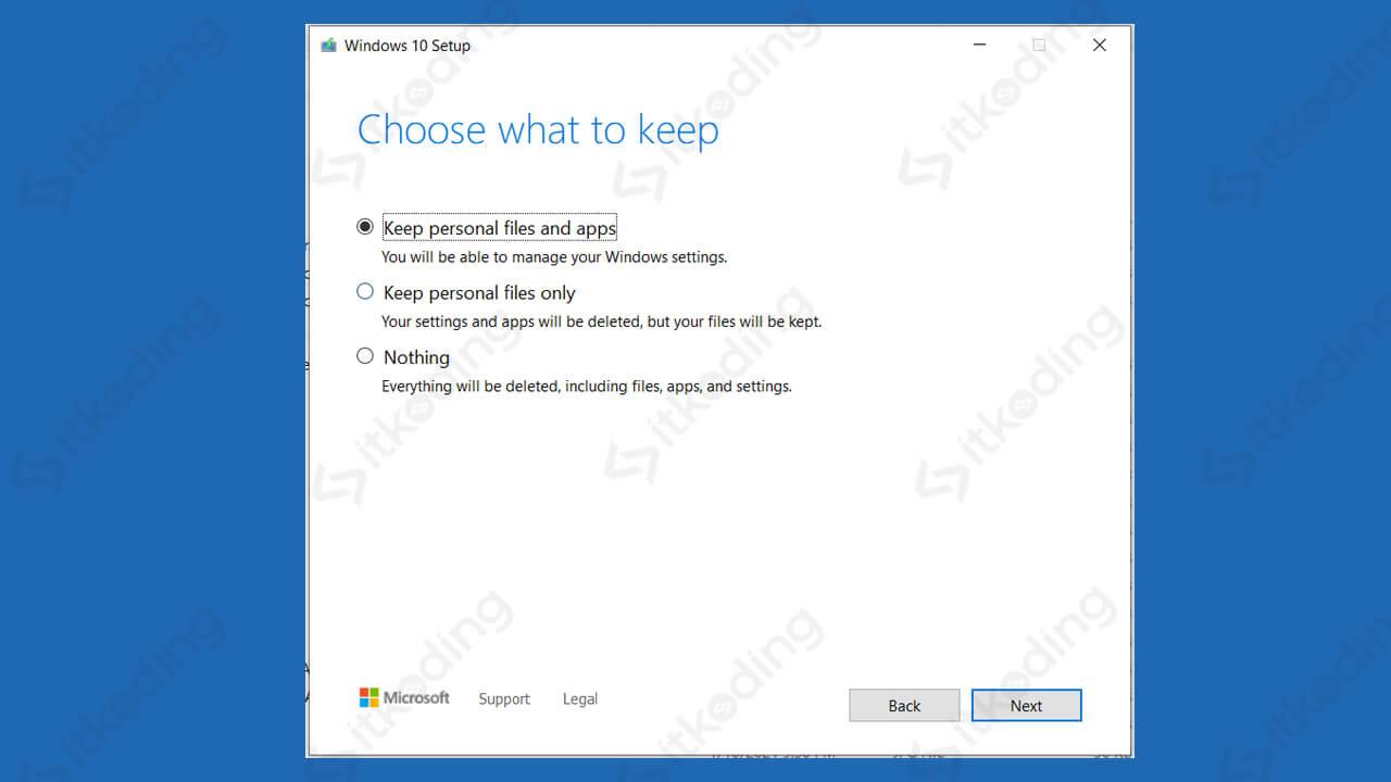 Pilihan tidak menghapus data di windows 10 setup