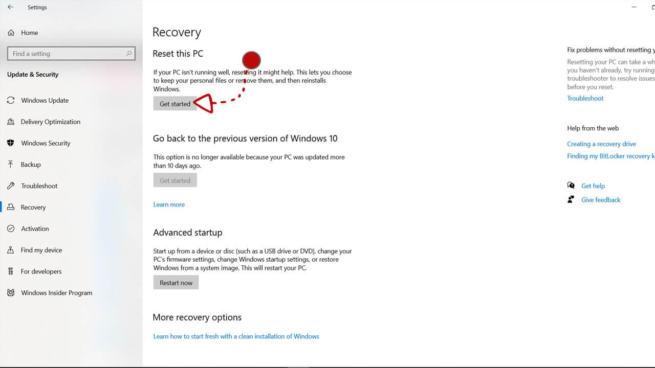 Tombol get started untuk reset windows 10